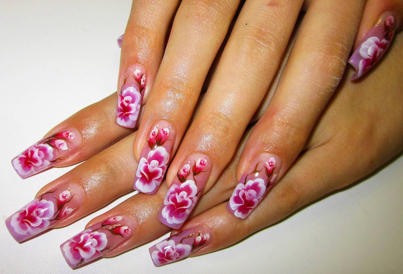 Работы дизайн ногтей с цветами